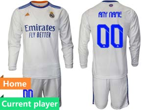 Mens 21-22 Soccer Real Madrid Club Current Player White Home Long Sleeve Suit Jersey