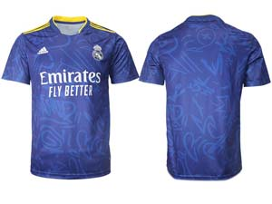 Mens 21-22 Soccer Real Madrid Club Custom Made Blue Away Thailand Short Sleeve Jersey