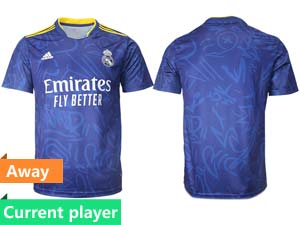 Mens 21-22 Soccer Real Madrid Club Current Player Blue Away Thailand Short Sleeve Jersey