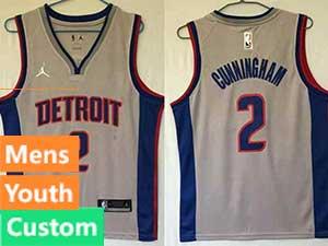 Mens Youth Nba Detroit Pistons Custom Made Gray Swingman Jordan Jersey