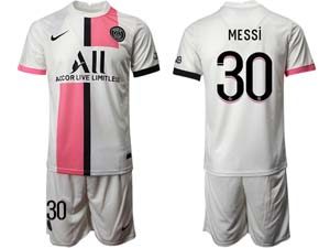 Mens Kids 21-22 Soccer Paris Saint Germain Custom Made White Away Short Sleeve Suit Jersey