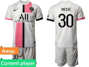 Mens Kids 21-22 Soccer Paris Saint Germain Current Player White Away Short Sleeve Suit Jersey