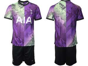Mens 21-22 Soccer Tottenham Hotspur Club Custom Made Purple Second Away Short Sleeve Suit Jersey