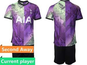 Mens 21-22 Soccer Tottenham Hotspur Club Current Player Purple Second Away Short Sleeve Suit Jersey