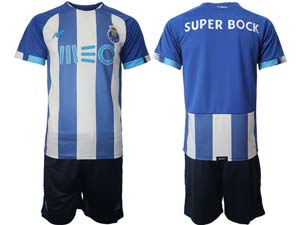 Mens 21-22soccer Fc Porto Club Custom Made Blue And White Stripe Home Short Sleeve Suit Jersey