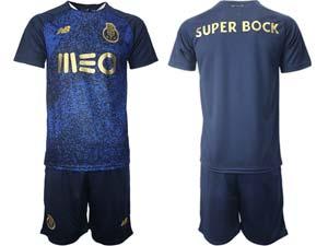 Mens 21-22soccer Fc Porto Club Custom Made Blue Away Short Sleeve Suit Jersey