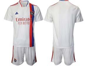 Mens 21-22 Club Olympique Lyonnais Custom Made White Home Short Sleeve Suit Jersey