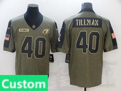 Mens Women Youth Nfl Arizona Cardinals Custom Made Olive Green 2021 Salute To Service Limited Nike Jersey