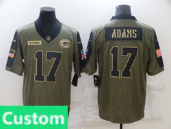 Mens Women Youth Nfl Green Bay Packers Custom Made Olive Green 2021 Salute To Service Limited Nike Jersey