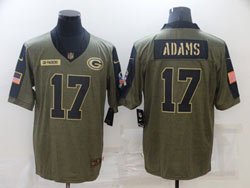 Mens Nfl Green Bay Packers #17 Davante Adams Olive Green 2021 Salute To Service Limited Nike Jersey