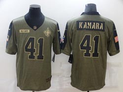 Mens Nfl New Orleans Saints #41 Alvin Kamara Olive Green 2021 Salute To Service Limited Nike Jersey