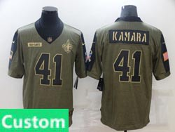 Mens Women Youth Nfl New Orleans Saints Custom Made Olive Green 2021 Salute To Service Limited Nike Jersey