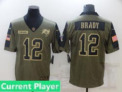 Mens Women Youth Nfl Tampa Bay Buccaneers Current Player Olive Green 2021 Salute To Service Limited Jersey