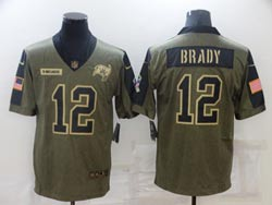 Mens Nfl Tampa Bay Buccaneers #12 Tom Brady Olive Green 2021 Salute To Service Limited Jersey