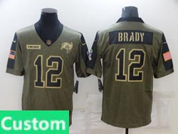 Mens Women Youth Nfl Tampa Bay Buccaneers Custom Made Olive Green 2021 Salute To Service Limited Jersey
