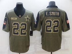 Mens Nfl Dallas Cowboys #22 Emmitt Smith Olive Green 2021 Salute To Service Limited Nike Jersey