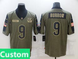 Mens Women Youth Nfl Cincinnati Bengals Custom Made Olive Green 2021 Salute To Service Limited Jersey