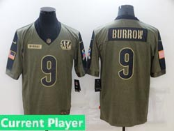 Mens Women Youth Nfl Cincinnati Bengals Current Player Olive Green 2021 Salute To Service Limited Jersey