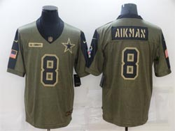 Mens Nfl Dallas Cowboys #8 Troy Aikman Olive Green 2021 Salute To Service Limited Nike Jersey