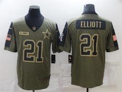 Mens Nfl Dallas Cowboys #21 Ezekiel Elliott Olive Green 2021 Salute To Service Limited Nike Jersey