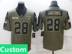 Mens Women Youth Nfl Las Vegas Raiders Custom Made Olive Green 2021 Salute To Service Limited Nike Jersey