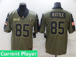 Mens Women Youth Nfl San Francisco 49ers Current Player Olive Green 2021 Salute To Service Limited Jersey