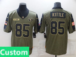 Mens Women Youth Nfl San Francisco 49ers Custom Made Olive Green 2021 Salute To Service Limited Jersey