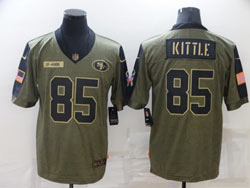 Mens Nfl San Francisco 49ers #85 George Kittle Olive Green 2021 Salute To Service Limited Jersey