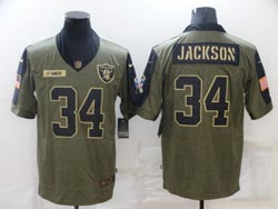 Mens Nfl Las Vegas Raiders #34 Bo Jackson Olive Green 2021 Salute To Service Limited Nike Jersey