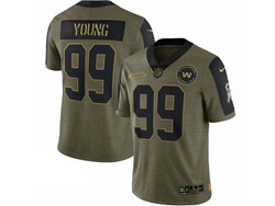 Mens Nfl Washington Football Team #99 Chase Young Olive Green 2021 Salute To Service Limited Nike Jersey