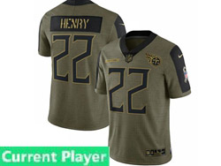 Mens Women Youth Nfl Tennessee Titans Current Player Olive Green 2021 Salute To Service Limited Nike Jersey