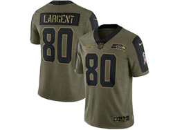Mens Nfl Seattle Seahawks #80 Steve Largent Olive Green 2021 Salute To Service Limited Nike Jersey