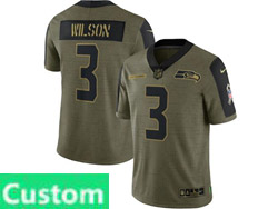 Mens Women Youth Nfl Seattle Seahawks Custom Made Olive Green 2021 Salute To Service Limited Nike Jersey