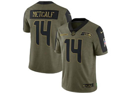 Mens Nfl Seattle Seahawks #14 Dk Metcalf Olive Green 2021 Salute To Service Limited Nike Jersey