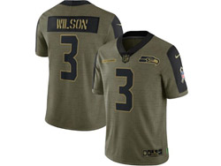 Mens Nfl Seattle Seahawks #3 Russell Wilson Olive Green 2021 Salute To Service Limited Nike Jersey