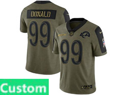 Mens Women Youth Nfl Los Angeles Rams Custom Made Olive Green 2021 Salute To Service Limited Nike Jersey