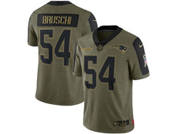 Mens Nfl New England Patriots #54 Tedy Bruschi Olive Green 2021 Salute To Service Limited Nike Jersey