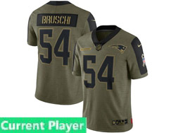 Mens Women Youth New England Patriots Current Player Olive Green 2021 Salute To Service Limited Nike Jersey