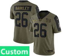 Mens Women Youth Nfl New York Giants Custom Made Olive Green 2021 Salute To Service Limited Nike Jersey