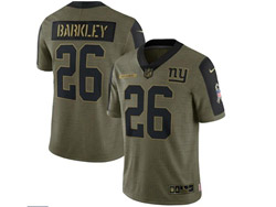 Mens Nfl New York Giants #26 Saquon Barkley Olive Green 2021 Salute To Service Limited Nike Jersey