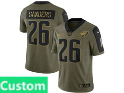 Mens Women Youth Nfl Philadelphia Eagles Custom Made Olive Green 2021 Salute To Service Limited Nike Jersey