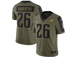 Mens Nfl Philadelphia Eagles #26 Miles Sanders Olive Green 2021 Salute To Service Limited Nike Jersey