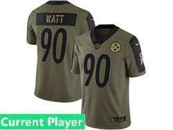 Mens Women Youth Nfl Pittsburgh Steelers Current Player Olive Green 2021 Salute To Service Limited Nike Jersey