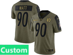 Mens Women Youth Nfl Pittsburgh Steelers Custom Made Olive Green 2021 Salute To Service Limited Nike Jersey