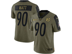 Mens Nfl Pittsburgh Steelers #90 Jj Watt Olive Green 2021 Salute To Service Limited Nike Jersey