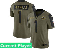 Mens Women Youth Nfl Miami Dolphins Current Player Olive Green 2021 Salute To Service Limited Nike Jersey