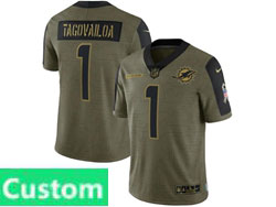 Mens Women Youth Miami Dolphins Custom Made Olive Green 2021 Salute To Service Limited Nike Jersey