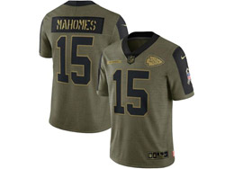 Mens Nfl Kansas City Chiefs #15 Patrick Mahomes Olive Green 2021 Salute To Service Limited Nike Jersey
