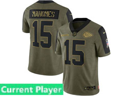 Mens Women Youth Nfl Kansas City Chiefs Current Player Olive Green 2021 Salute To Service Limited Nike Jersey