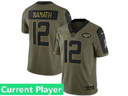 Mens Women Youth Nfl New York Jets Current Player Olive Green 2021 Salute To Service Limited Nike Jersey